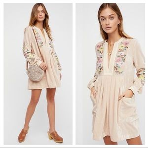 Free People Mia Velvet Dress Floral Embroidered S
